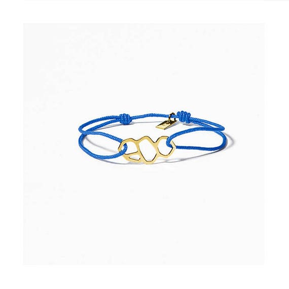 Blue link bracelet A DAY IN. Marseille/Mucem, finish gold