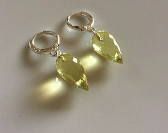 Lemon Quartz Dangle Earrings, Lemon Quartz Drop Earrings, Lemon Quartz and Sterling Silver Earrings