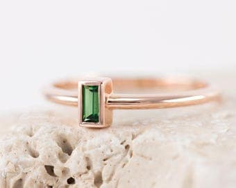 Baguette Thin Green Engagement Ring, 14k solid gold ring, Delicate Simple Solitaire Ring