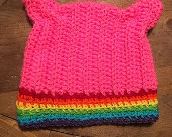 Pink Rainbow Cat Ear Hat