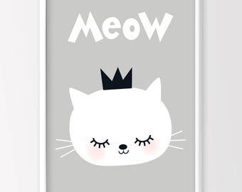 Cat Print, Nursery Decor, Monochrome Nursery, Monochrome kids Room, Printable Art
