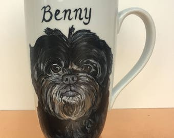 Custom hand painted pet portrait coffee mug