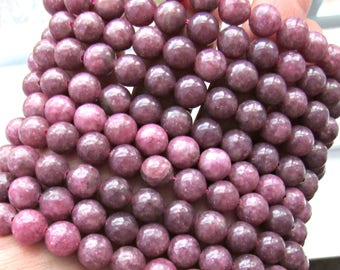 8mm Lepidolite beads, 8mm gemstone beads, full strand, A quality, pink stones, natural lepidolite, round beads, jewelry supplies, mala