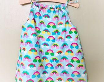 Rainbow summer dress - Toddler summer dress - Girl's summer dress - pillowcase Rainbow sundress - Toddler rainbow dress - cool cotton dress