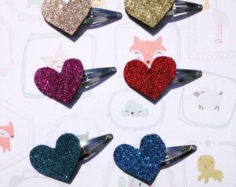 Glitter felt heart hair clips