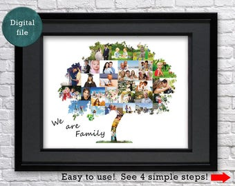 Family tree gift Fathers day gift Personalized gift Anniversary gift for father gift Fathers gift for grandpa Custom gift Photo collage gift
