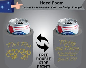 Mr and Mrs Mickey and Minnie Hard Foam Wedding Can Cooler Double Side Print (HF-W2)