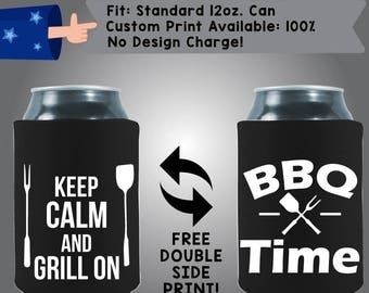 Keep Calm and Grill on Collapsible Fabric Can Coolers (Etsy-BBQ07)