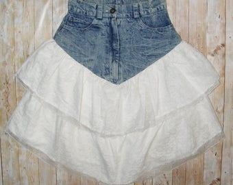 Size 6-8 vintage 80s extreme rara midi skirt white lace/acid wash denim (HS23)