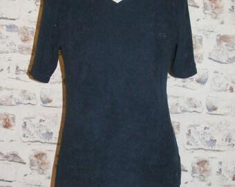 Size 12 vintage 90s short sleeve v neck sports t shirt navy microfleece (GY49)