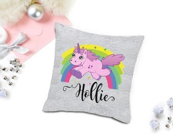 Mermaid reversable Sequin magical changing Cushion 16 x 16 - unicorn - name - gift - unique
