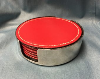 Wazir Chand Vintage Leather stainless coaster set
