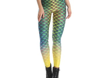 Green Mermaid Scale Leggings