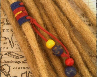 VEGAN - S/M -  Superman! Unique Hand Crafted, Up-Cycled, Infused (non fray) Fabric Dread/beard/hair cuff/bead with beaded tails.
