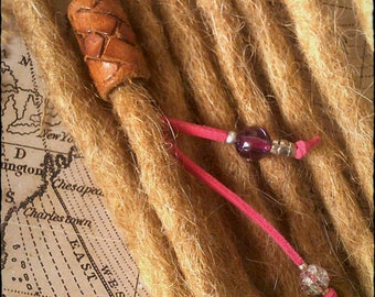 S/M - Unique hand crafted, up-cycled genuine leather dread/beard/hair cuff/bead with beaded tails