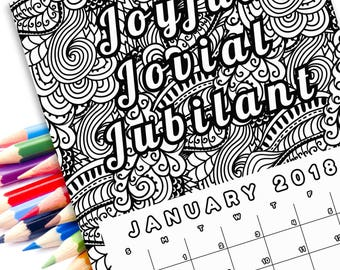 2018 Adult Coloring Calendar Pages Printable Self Care Art Quote Coloring Page Anxiety Relief Gift Mental Health Art
