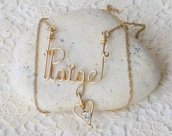 Gold Tone Paige Name Chain Necklace Gold Peige Pendant Dangle Rhinestone Heart  Wired Paige Gold Tone  Jewelry, Gold  Name Necklace