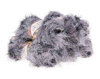 5 x 100 g ALIZE DECOFUR, no. 87 dark gray fringe Cardigan