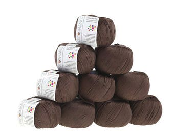 10 x 50g knitted yarn cotton marble, #227 Brown