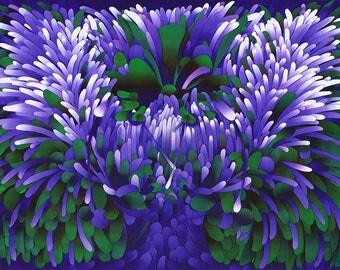 Flowering Tree, Giclee Print Silkscreen Collage Colorful Modern Art Made To Order Large Fine Art Print by Ken Falana