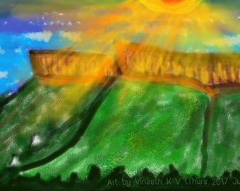 Sun Rays on Tirumala Hills - Art on Mobile Phone