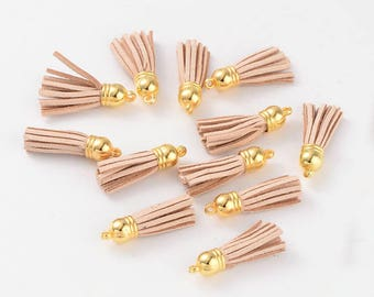 4pc 38x10mm Blanched Almond Suede Tassel in Gold Cap