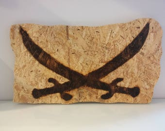 Pirate sword wooden pallet - great maritime wall decoration - real unique!