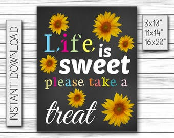 Life Is Sweet Please Take a Treat, Instant Download, Candy Bar Sign, Chalkboard Poster, Printable DIGITAL FILE Only