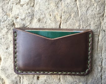 Brown leather card holder/ business card case/ minimalist leather wallet