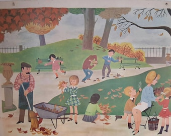 French vintage  double sided school poster