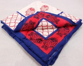 Kantha Quilt, Indian Handmade Quilt Block Printed Quilt, Baby Blanket Soft Cotton, hand stitched, handmade, reversible quilt Soft blanket