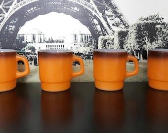 4 vintage FIRE KING orange brown mugs