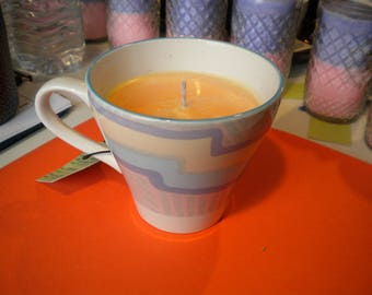 Tea Cup Soy Candle with Essential Oils Hand Crafted All Natural Scent: Easter Lemon in a Tea Cup