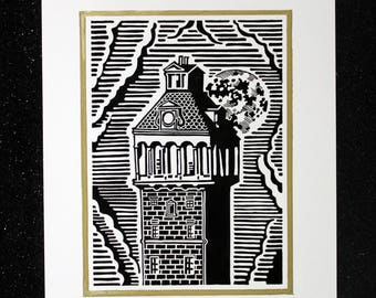 Tower linocut print