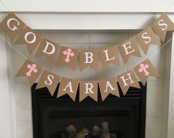 God Bless Banner, Baptism Banner, Christening Banner, First Communion Banner, God Bless, Girl, Boy, Crosses, Photo Prop