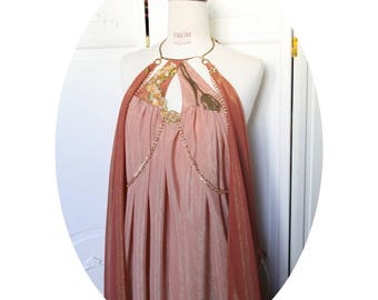 """Shae"", long dress cotton pink and gold chiffon dress, dress long style Mucha, Art Nouveau dress"