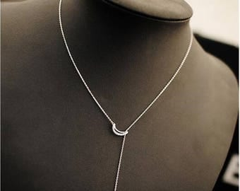 Moon Stars Lariat, Moon Stars Necklace, Lariat Necklace, Simple Necklace, Dainty Necklace, Bridesmaid Gift, Minimalist Jewelry, Gift for Her