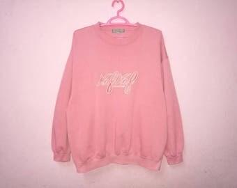 Rare!! Naf Naf Big Spellout Embroidery Pullover Jumper Sweatshirt