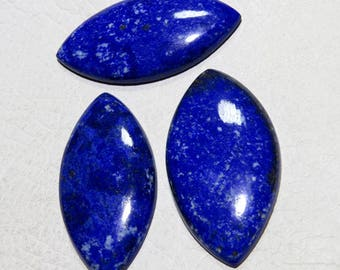 RARE~ 100% Natural Smooth Lapis Lazuli Marquise shape Cabochons 53X28mm  Approx Top Quality On Whole Sale Price.{LP-36}