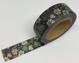 Black Floral Washi Tape