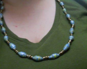 Long Blue Green Orange Necklace