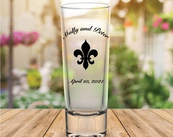 Custom Fleur de Lis Tall Wedding Favor Shot Glasses