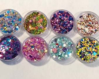 CLEARANCE SALE One Dollar Glitters Each Of The 8 Custom Blended Glitter Colors 2 Grams in Size