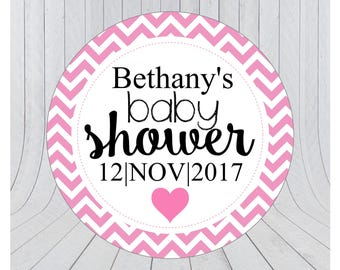 Baby shower stickers, baby shower favour stickers, Baby shower labels, personalised baby shower stickers, PINK 154