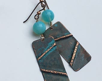 Copper Fold Formed Earrings with Verde Green Patina