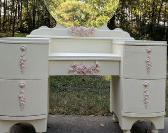 Sold...FREE shipping....Beautiful Vintage Vanity Redone in a Romantic Shabby Chic Style