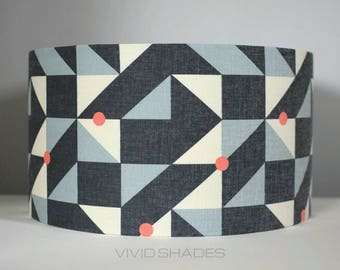 Geometric lampshade, fabric printed in England 30 or 35cm drum shade handmade by vivid shades, stylish funky triangle pattern ceiling gift