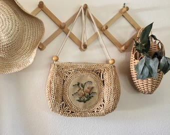 Vintage Bohemian Woven Raffia Straw Shoulder Bag with Needle Point Embroidery