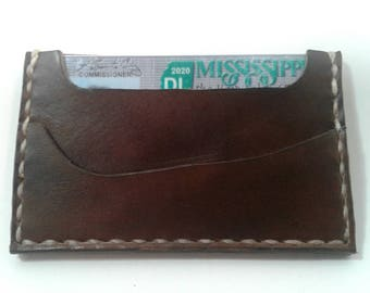 Minimalist leather front pocket wallet, all hand made in the USA
