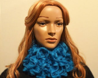 Blue Scarf, Light Blue Scarf, Ruffle Scarf, Yarn Scarf, Crochet Scarf, Scarves for Women, Womens Scarves, Teen Scarves, Turquoise River